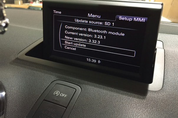 Audi A1 MMI Bluetooth software version